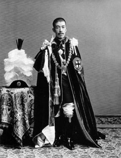 ガーター勲章の騎士団の正装をした大正天皇(1912年頃撮影).jpg