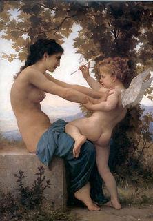 ブーグロー「クピドから身を守る少女」。1880年.jpg