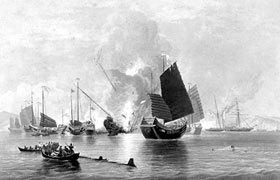 清国と戦っているイギリスの商船。その頃の商船は大砲を持っていた。.jpg
